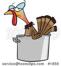 Cartoon Turkey Bird in a Pot by Ron Leishman
