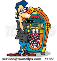 Cartoon Greaser by a Juke Box by Ron Leishman