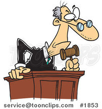 Cartoon Judge Leaning over His Desk by Ron Leishman