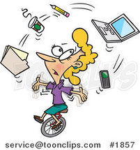 Cartoon Business Woman Juggling Office Items on a Unicycle by Ron Leishman