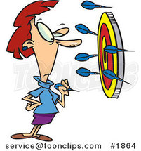 Cartoon Business Woman off Target with Darts by Ron Leishman
