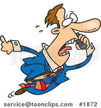 Cartoon Business Man Running and Talking on a Cell Phone by Ron Leishman