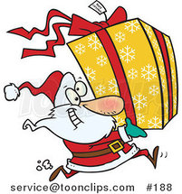 Cartoon Santa Claus Running to Deliver a Large Christmas Present Gift Wrapped in a Red Bow, Ribbon and Yellow Paper with a White Snowflake Pattern by Ron Leishman