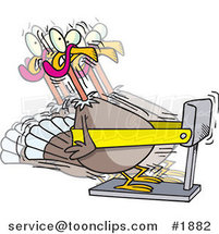 Cartoon Turkey Bird Exercising on a Treadmill by Ron Leishman