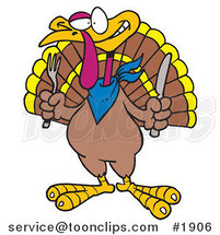 Cartoon Turkey Bird Holding a Knife and Fork by Ron Leishman