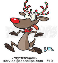 Cartoon Rudolph the Red Nosed Reindeer with Festive Red, White and Green Striped Antlers, Running in the Snow by Ron Leishman