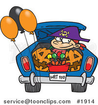 Cartoon Trick or Treating Boy in the Trunk of a Car by Ron Leishman