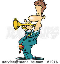 Cartoon Trumpet Player by Ron Leishman