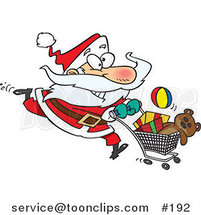 Cartoon Energetic Santa Claus Running Through a Retail Store with a Shopping Cart Full of Toys for Christmas Gifts by Ron Leishman