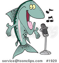 Cartoon Musical Trout Singing by Ron Leishman