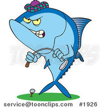 Cartoon Mad Tuna Fish Playing Golf by Ron Leishman