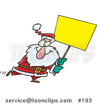 Cartoon Cross Eyed Santa Walking Around with a Blank Yellow Sign for Advertising by Ron Leishman