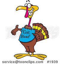 Cartoon Turkey Bird Wearing an Eat Beef Shirt by Ron Leishman