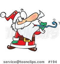 Cartoon Santa Claus at a Party, Blowing a Noise Maker Blower by Ron Leishman