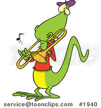 Cartoon Lizard Playing a Trombone by Toonaday