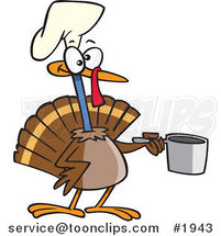 Cartoon Chef Turkey Bird Holding a Pot by Toonaday