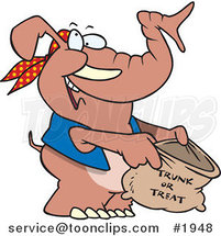 Cartoon Halloween Elephant Holding a Trunk or Treat Bag by Ron Leishman