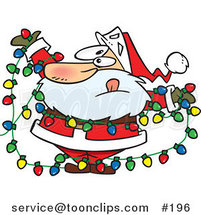 Cartoon Santa Claus Tangled in a Mess of Colorful Christmas Lights While Trying to Decorate His Home by Ron Leishman