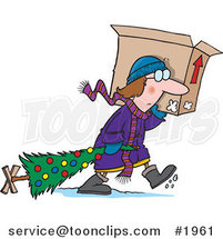 Cartoon Lady Carrying a Moving Box and Dragging Her Christmas Tree by Ron Leishman