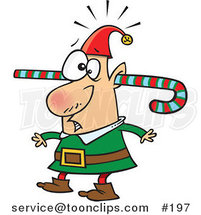 Cartoon Confused Elf Walking Around with a Colorful Striped Candy Cane Going Through One Ear and out the Other by Ron Leishman