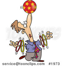 Trained Cartoon Business Man Spinning Rings on His Arms and Balancing a Ball on His Nose by Ron Leishman