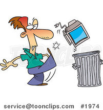 Cartoon Business Man Throwing Away a Broken Computer by Ron Leishman