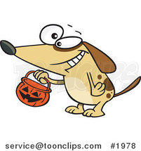 Cartoon Dog Trick or Treating on Halloween by Ron Leishman