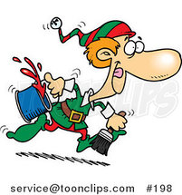 Cartoon One of Santa's Elves Running to Paint a Wall Red for Christmas Time by Ron Leishman