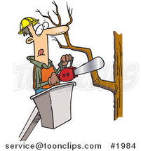 Cartoon Tree Trimmer Holding a Saw by Ron Leishman