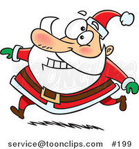 Cartoon Santa Claus Grinning and Running in His Red Suit by Ron Leishman