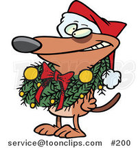Cartoon Brown Puppy Dog Wearing a Santa Hat and Grinning, Decked out in a Christmas Wreath Which Is Hanging Around His Neck by Ron Leishman