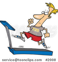 Cartoon Guy Sprinting on a Treadmill by Ron Leishman