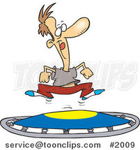 Cartoon Guy Jumping on a Trampoline by Ron Leishman