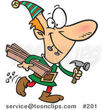 Cartoon Santa's Elves Biting Two Nails in His Mouth and Carrying Plywood and a Hammer to the Toy Shop by Ron Leishman