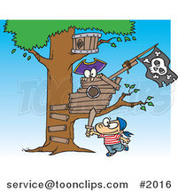 Cartoon Boy Playing near His Pirate Tree House by Ron Leishman