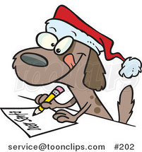 Cartoon Festive Brown Puppy Dog Wearing a Santa Hat and Writing a Dear Santa Letter with His Christmas Wishes by Ron Leishman