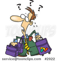Confused Cartoon Business Man with Luggage by Ron Leishman