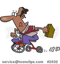 Cartoon Black Business Man Riding a Trike to Work by Ron Leishman