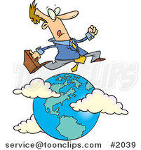 Cartoon Traveling Salesman Leaping over the Globe by Ron Leishman