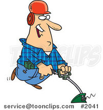 Happy Cartoon Landscaper Using a Weed Wacker by Ron Leishman