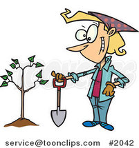 Proud Cartoon Lady with a Shovel by a Newly Planted Tree by Ron Leishman