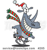 Cartoon Festive Christmas Rhino Riding a Unicycle and Wearing a Santa Hat and Green, White and Red Scarf by Ron Leishman