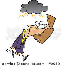 Cartoon Business Woman Walking Under a Stormy Cloud by Ron Leishman