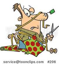Cartoon Clueless White Guy with a Tag Taped to His Nose and Wrapping Paper Taped to His Shirt, Holding a Pair of Scissors and Shrugging While Trying to Wrap Christmas Gifts by Ron Leishman