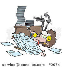 Cartoon Business Woman Buried Under Paperwork by Ron Leishman
