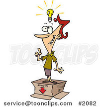 Cartoon Business Woman with an out of the Box Idea by Ron Leishman