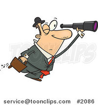 Cartoon Business Man Seeking an Opportunity with a Telescope by Ron Leishman