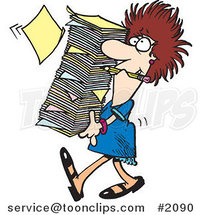 Cartoon Business Woman Carrying a Huge Stack of Paperwork by Ron Leishman