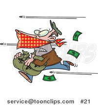 Cartoon Bank Robber Running with Money, Bullets Being Shot at Him by Toonaday