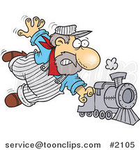 Cartoon Locomotive Engineer Holding onto a Fast Steam Train by Ron Leishman